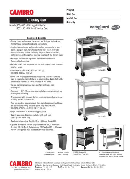 Cut Sheet - KD Large Utility Cart