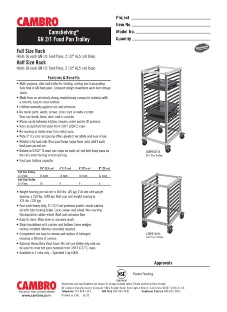 GN 2/1 Food Pan Trolley Cut Sheet