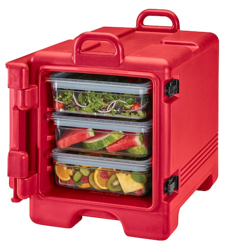 UPC300158 Hot Red Front Loader Insulated Carrier w/ Food Pans