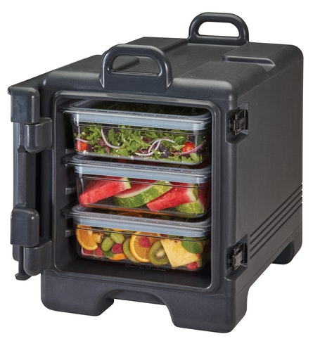 UPC300110 Black Front Loader Insulated Carrier w/ Food Pans
