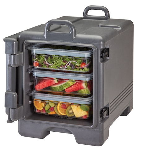 UPC300615 Charcoal Gray Front Loader Insulated Carrier w/ Food Pans