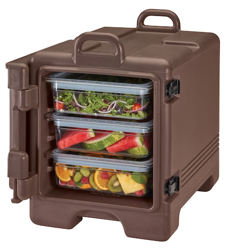 UPC300131 Dark Brown Front Loader Insulated Carrier w/ Food Pans