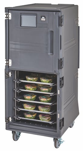 PCUHC2615 Charcoal Gray Tall Pro Cart Ultra - Hot/Cold Half-Open w/ Food