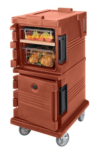 UPC600402 Brick Red Non-Electric Ultra Camcart w/ Top Door Open & Food