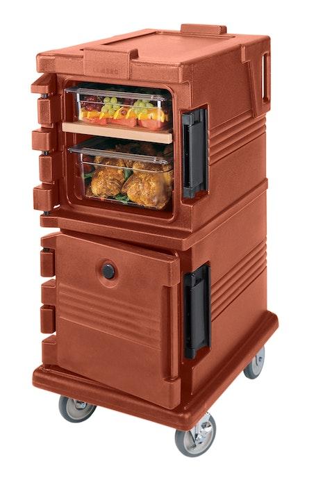 UPC600402 Brick Red Non-Electric Ultra Camcart w/ Top Door Open & Food