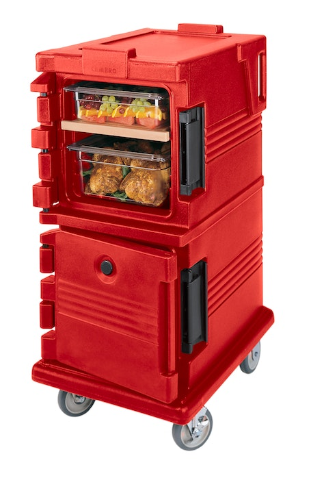 UPC600158 Hot Red Non-Electric Ultra Camcart w/ Top Door Open & Food