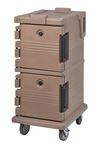 UPC600157 Coffee Beige Non-Electric Ultra Camcart w/ Top Door Open & Food