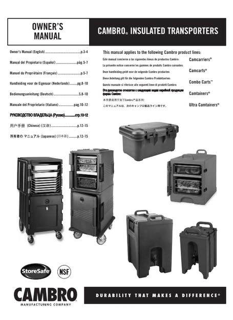 User Manual - Insulated Transporters