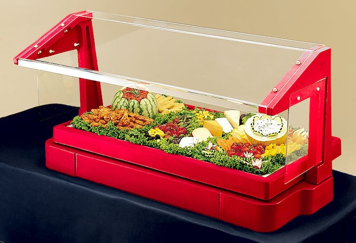 BBR480158 Table Top Hot Red Buffet Bar w/ Sneeze Guard