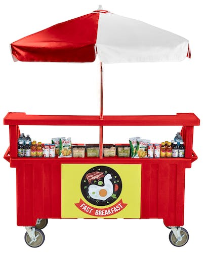 CVC724158 Hot Red Camcruiser Vending Cart w/ Snacks