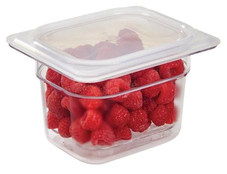"84CW135 Camwear 4"" Eighth Size Clear Food Pan w Raspberries"