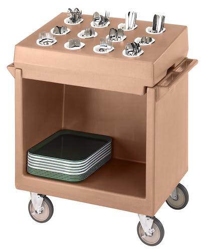 TDCR12157 Coffee Beige Tray & Dish Cart w Rack