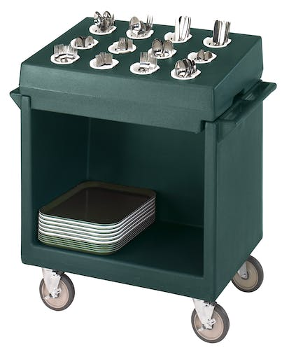 TDCR12192 Granite Green Tray & Dish Cart w Rack