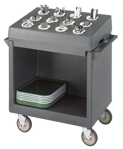 TDCR12191 Granite Gray Tray & Dish Cart w Rack