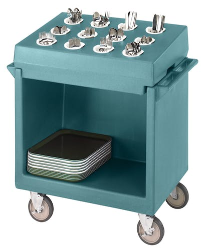 TDCR12401 Slate Blue Tray & Dish Cart w Rack