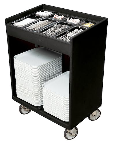 TC1418110 Black Tray & Silverware Cart