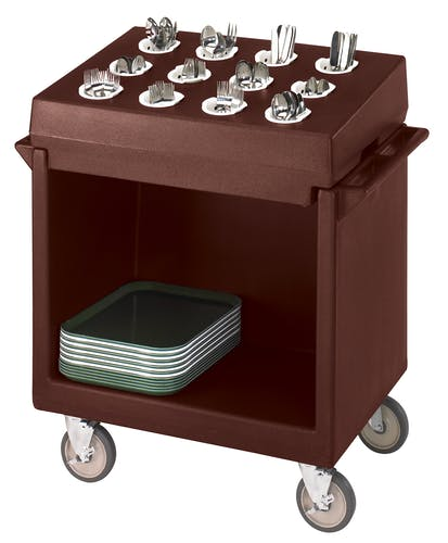 TDCR12131 Dark Brown Tray & Dish Cart w Rack