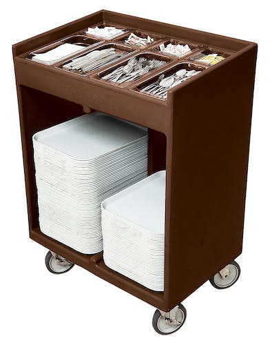 TC1418131 Dark Brown Tray & Silverware Cart