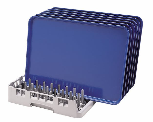 OETR314151 Soft Gray Open End Tray Rack w Blue Trays