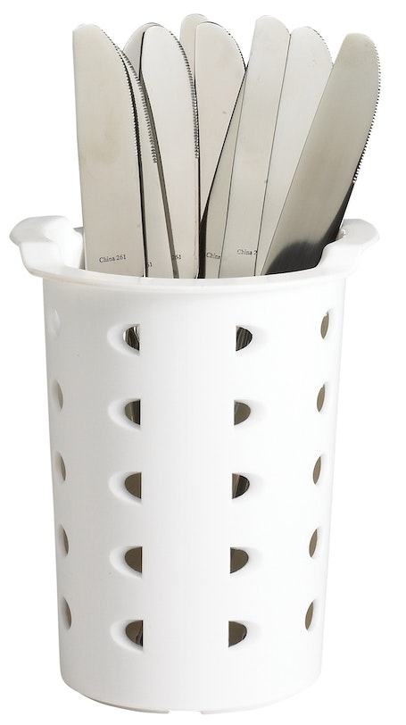 FWC56148 White Flatware Cylinder w Knives