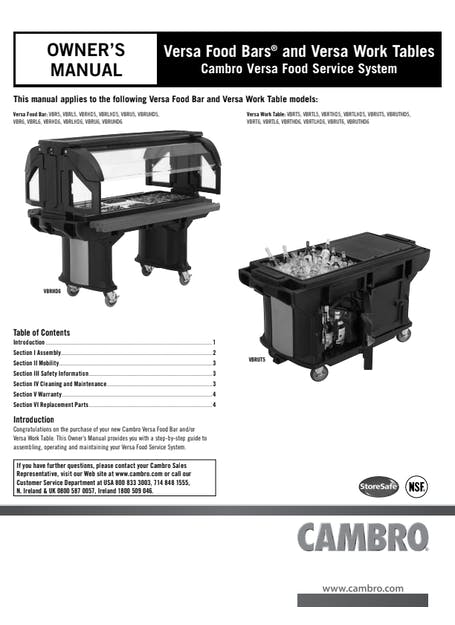 User Manual - Versa Food Bar and Work Table