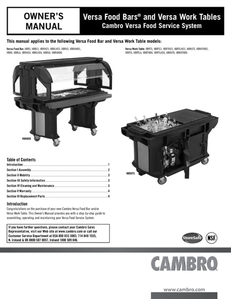MANUAL - Versa Food Bar and Work Table User Manual