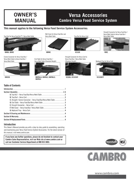 Versa Food Bar Accessories User Manual