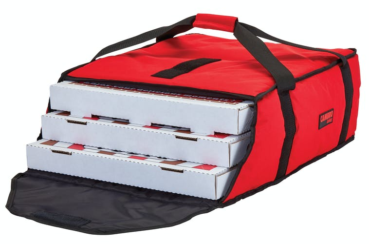 "GBP318521 Red Pizza GoBag - 3 18"" Pizza Box Capacity w/ Bag Open"