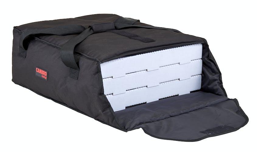 "GBP318110 Black Pizza GoBag - 3 18"" Pizza Box Capacity w/ Bag Open"