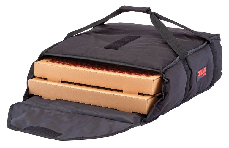 "GBP216110 Black Pizza GoBag - 2 16"" Pizza Box Capacity w/ Bag Open"