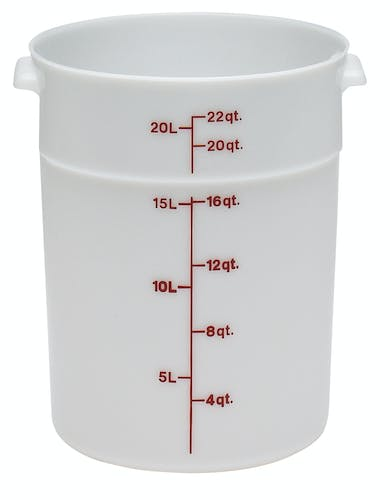 RFS22148 22 QT White Poly Round Container
