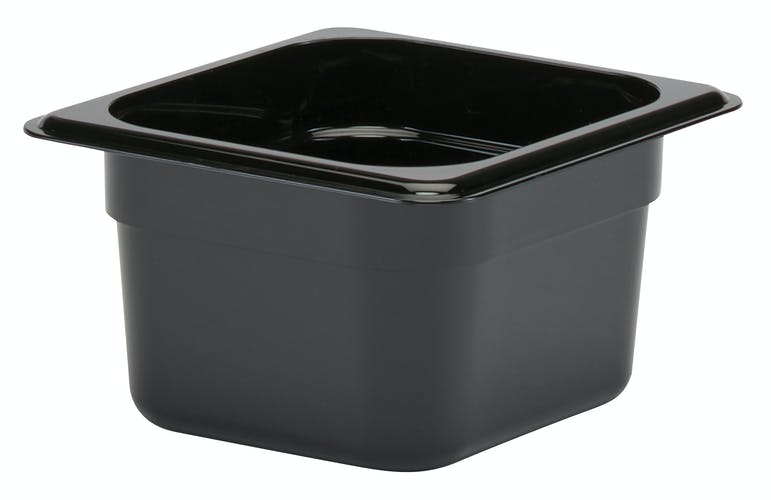 "64CW110 Camwear 4"" Sixth Size Black Food Pan"