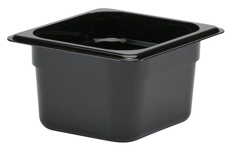 "64CW110 Camwear 4"" Sixth Size Black Food Pan"