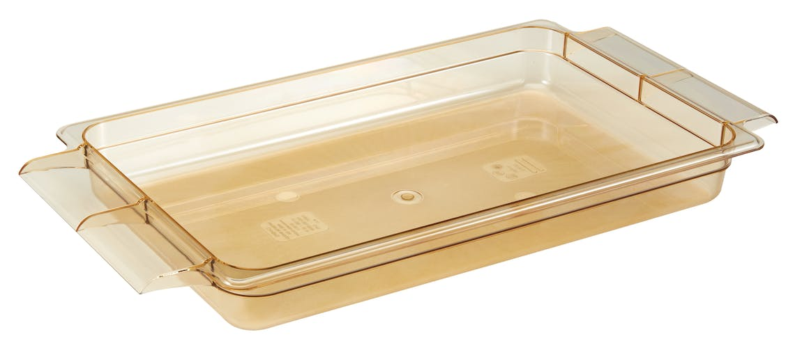 "12HPH150 H-Pan 2.5"" High Heat Food Pan w/ Handles - Amber"