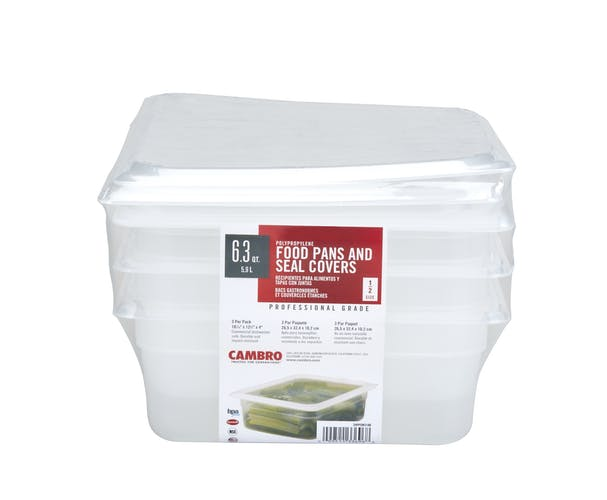 24PPSW3190 3-Pack Translucent 6.3 QT Food Pans & Lids