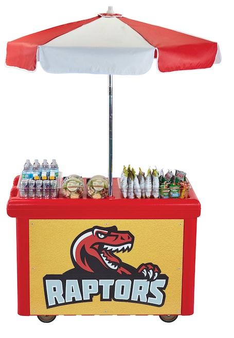 CVC55158 Hot Red Camcruiser Vending Cart w/ Raptors Logo
