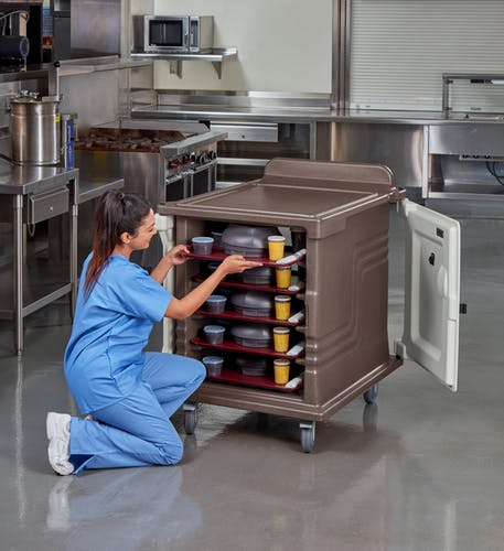 MDC1520S10D194 Meal Delivery Cart Dual Access 10 Tray Granite Sand