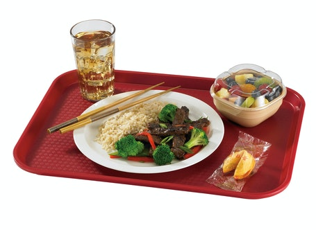 1216FF416 Cranberry Fast Food Tray w Chinese Food
