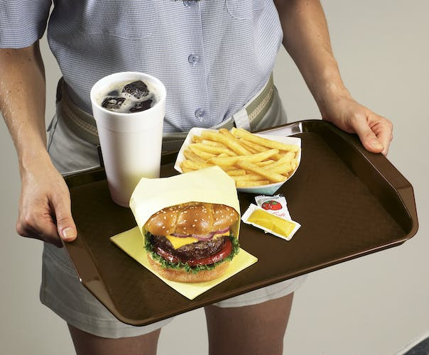 1217FFH167 Brown Fast Food Tray w Handles & Burger Meal