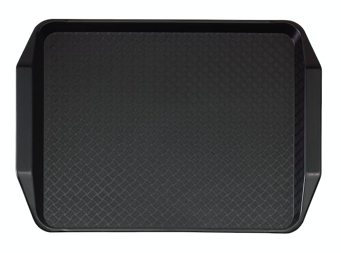 1217FFH110 Black Fast Food Tray w Handles