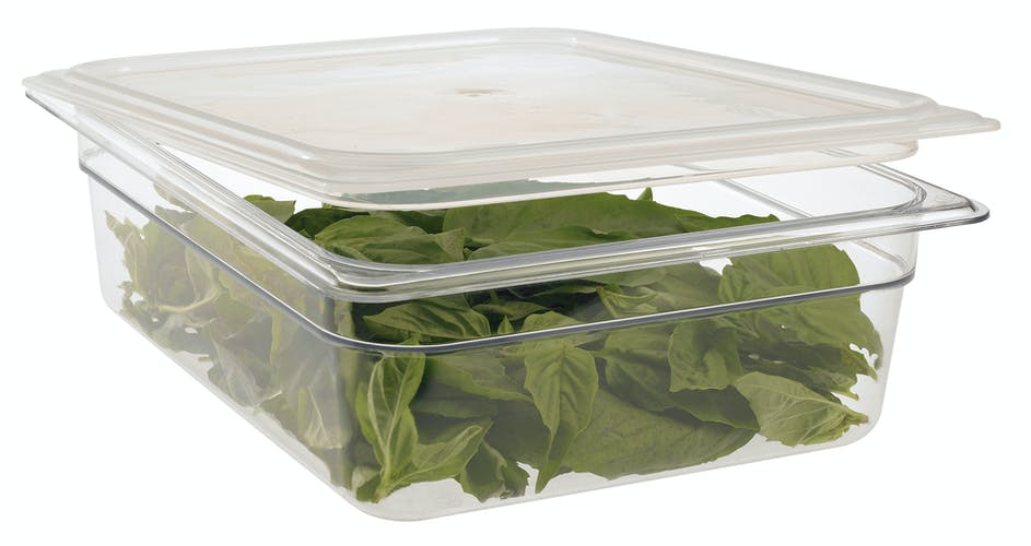 24CW135 Camwear Clear 1/2 Size Food Pan w Lid & Greens