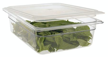 24CW135 Camwear Clear 1/2 Size Food Pan w Lid & Greens