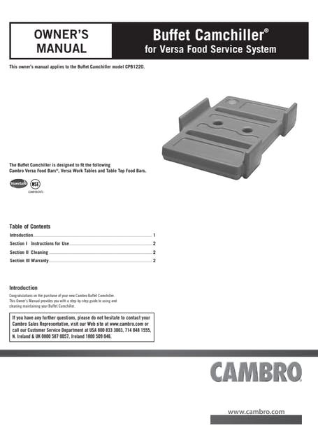 User Manual - Buffet Camchiller