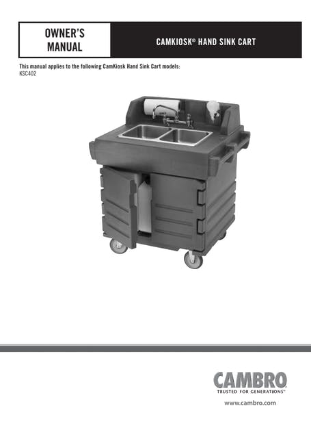 Hand Sink Cart Manual