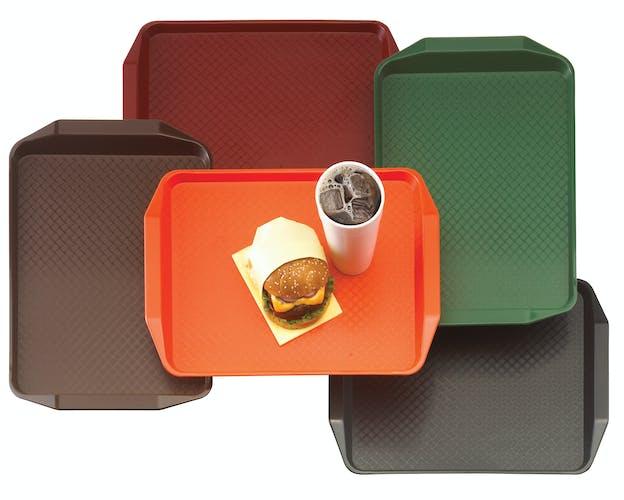 1217FFH166 Multi Fast Food Trays w Handles & Burger Meal