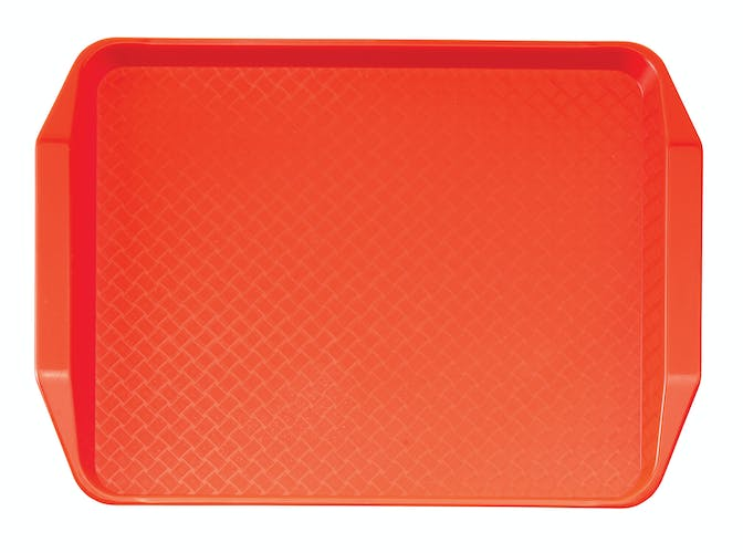 1217FFH166 Orange Fast Food Tray w Handles