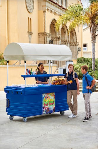 KVC856C186 Navy Blue CamKiosk Vending Cart w/ Students