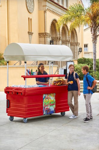 KVC856C158 Hot Red CamKiosk Vending Cart w/ Students