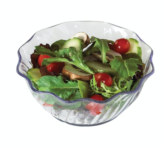 SRB13152 SAN Clear 13 oz Swirl Bowl w/ Salad