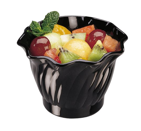 SRB5110 SAN Black 5 oz Swirl Bowl w/ Fruit